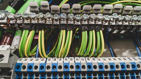 Electrical wiring terminals in high voltage royalty free stock images