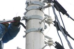 Electrical wiring work. Electrical construction work royalty free stock photos