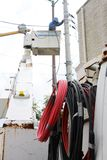 Electrical wiring work. Electrical construction work stock photo