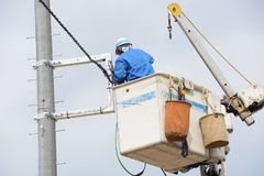 Electrical wiring work. Electrical construction work stock images
