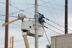 Electrical wiring work. Electrical construction work royalty free stock images