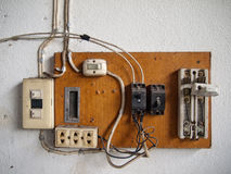 Electrical in wood panel Royalty Free Stock Images