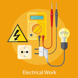 Electrical Work Concept. Electrical work. Socket with devices for the analysis of electrical network. Device for test. Flat icon modern design style concept Royalty Free Stock Photos
