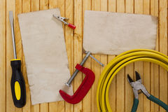 Electrical work. Set of tools and equipment to carry out electrical work Stock Photo
