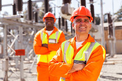 Electrical worker colleague stock photos