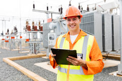 Electrical worker power plant royalty free stock photo