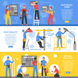 Electrical Works Horizontal Banners. With electricians working outdoor and crew of workers indoor flat vector illustration royalty free illustration