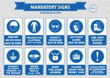 Electrically Mandatory Sign. (hard hat, face shield must be worn, high visibility vest, respirator, welding mask, anti static gloves, turn off, safety goggles Royalty Free Stock Photography