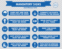 Electrically Mandatory Sign. (hard hat, face shield must be worn, high visibility vest, respirator, welding mask, anti static gloves, turn off, safety goggles Stock Image