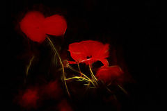 Electrically red. Poppy abstract with electrifying light Stock Photo