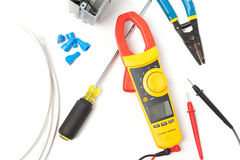 Electricial tools and parts. Electrical tools and parts DIY with meter Royalty Free Stock Images