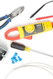 Electricial tools and parts. Electrical tools and parts DIY with meter Stock Photos
