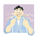 Electrician. Vector illustration of an electrician holding sparking cables and looking worried stock illustration