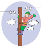 Electrician. Working on a column Royalty Free Stock Images