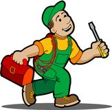 Electrician. Electrician worker cartoon an industrial power Stock Photo
