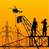 Electrician. Electrician stays on the tower royalty free illustration