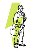 Electrician. Illustration of an electrician at work Royalty Free Stock Photos