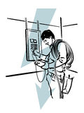 Electrician. Illustration of an electrician at work vector illustration