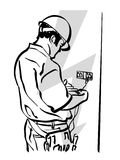 Electrician. Illustration of an electrician to work stock illustration