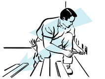 Electrician. Illustration of an electrician at work Royalty Free Stock Images