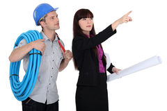 Electrician and architect Stock Photo
