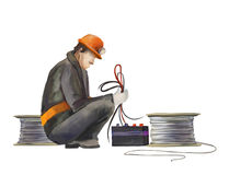 Electrician, Builders working on construction works illustration. Deputy director, welder, electrician, project manager, architect, jack hammer worker. Builders Stock Image