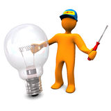 Electrician With Bulb. Orange cartoon character as electrician phones with old lamp. White background Royalty Free Stock Photo