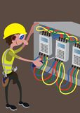 Electrician busy with his tools vector illustration