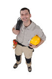 Electrician with  cable Royalty Free Stock Photos