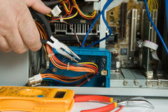 Electrician and cable Royalty Free Stock Photography