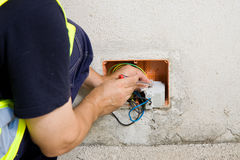 Electrician and cable Stock Photography