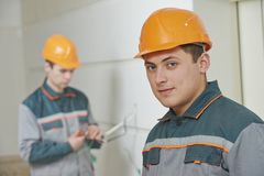 Electrician. Cabling work Royalty Free Stock Photography