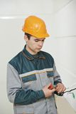 Electrician at cabling work Royalty Free Stock Image