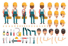 Electrician. Cartoon character creation set.Icons with different types of faces and hair style, emotions,icon,front, rear, side view of male person.Moving arms vector illustration