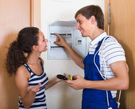 Electrician checking electrical panel Royalty Free Stock Photo