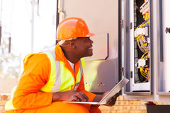 Electrician checking machine Stock Images