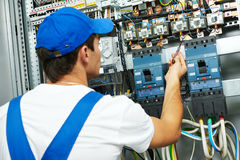 Electrician checking voltage Royalty Free Stock Image