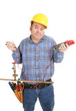 Electrician Confused by Plumbing Stock Images