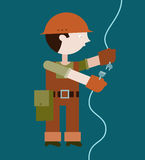 Electrician connecting wire Royalty Free Stock Image