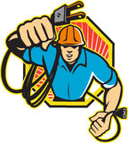 Electrician Construction Worker Retro Stock Photo