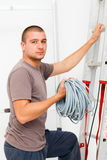 Electrician with Cords Royalty Free Stock Photos
