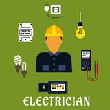 Electrician with devices and tools Royalty Free Stock Photography
