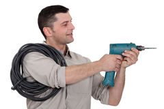 Electrician with drill Royalty Free Stock Images