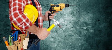 Electrician with drill. Stock Image