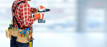 Electrician with drill. Royalty Free Stock Photos