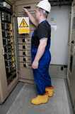 Electrician in the electrical distribution Stock Photo