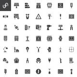 Electrician elements vector icons set. Modern solid symbol collection, filled style pictogram pack. Signs, logo illustration. Set includes icons as wire, high stock illustration