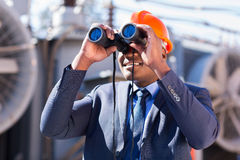 Electrician engineer binoculars Stock Photography