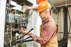 Electrician engineer worker stock images