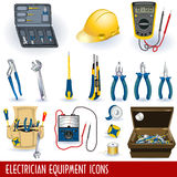 Electrician equipment icons. Collection of different electrician tools and equipment grouped separately and isolated on white background stock illustration
